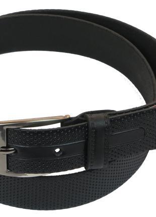Мужской кожаный ремень под брюки Skipper 1026-33 черный