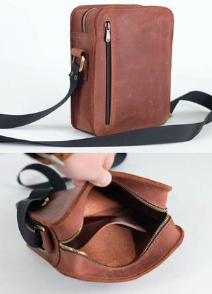 Кожаная мужская сумка из натуральной винтажной кожи коричневая...
