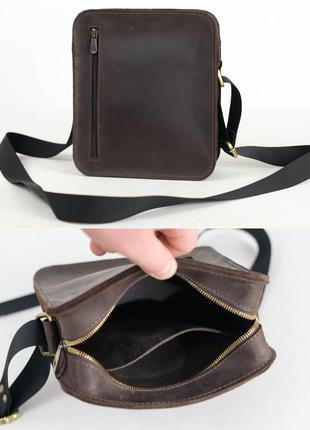 Кожаная сумка из натуральной винтажной кожи коричневая шоколад...