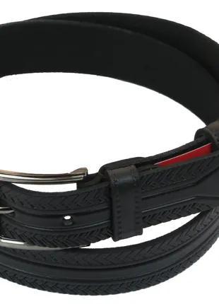 Мужской кожаный ремень под брюки Skipper 1028-33 черный