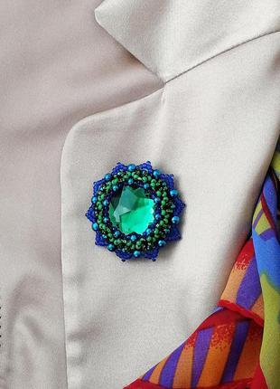 Сине-зеленая брошь из бисера