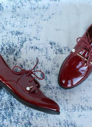 Бордовые туфли на шнурках, оксфорды, броги, дерби 38 размера ц...