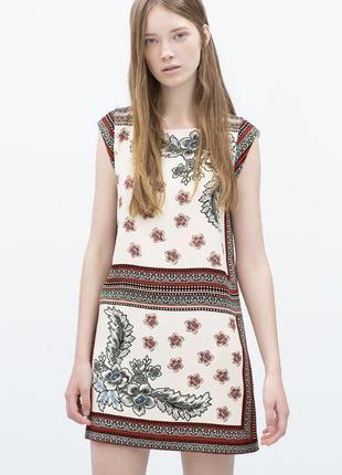 Платье,туника,прямой крой,этно,бохо стиль, zara,маленький размер