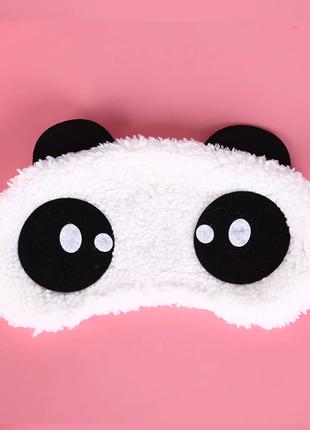 """Маска повязка на глаза для сна """"панда"""" меховая ткань"""