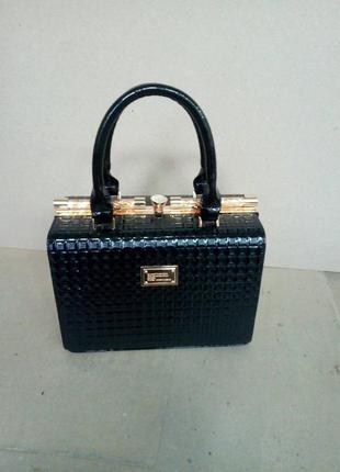 Отличное качество сумка женская саквояж лаковая модная черная