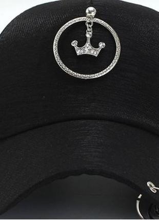 Кепка бейсболка корона с кольцами  черная