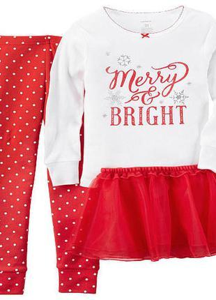 Новогодний рождественский комплект картерс для девочки 2_3 года.