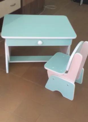 Детский столик и стульчик с регулировкой высоты. Мята/ сакура