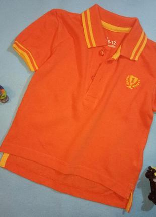 Яркое оранжевое поло футболка для мальчика