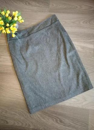 Темно серая качественная юбка карандаш