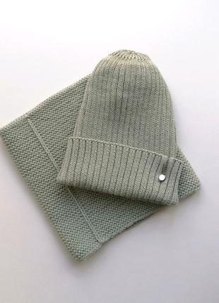 Вязаный комплект :шапка, снуд
