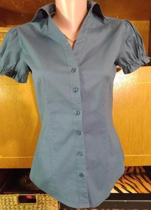 Летняя натуральная блузка темно синего цвета