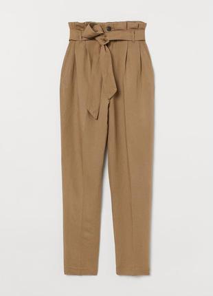 Новые льняные брюки h&m, с бирками, лён, высокая талия, все ра...
