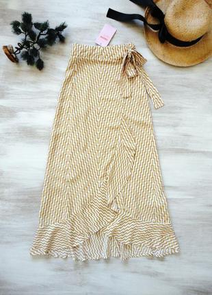 Воздушная юбка длинное миди на запах с поясом из мягкой вискоз...