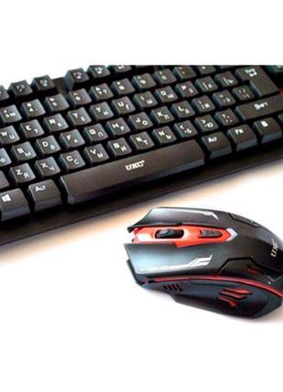 Русская беспроводная клавиатура и мышка HK6500 с адаптером