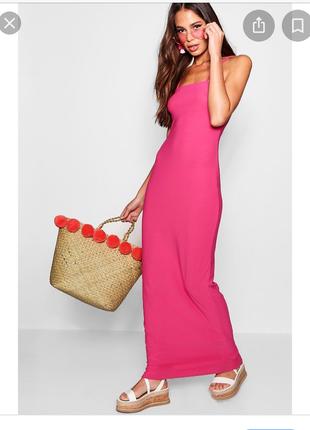 Розовое платье макси boohoo