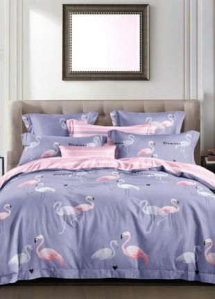 Постельное  белье сатин  фламинго