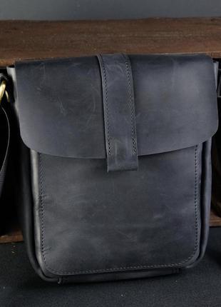 Кожаная мужская сумка из натуральной винтажной кожи черная
