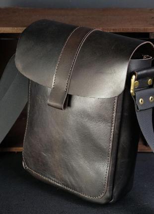 Мужская сумка из натуральной кожи итальянский краст коричневая...
