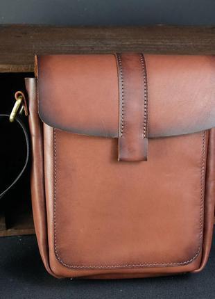 Мужская сумка из натуральной кожи итальянский краст коричневая