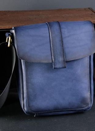 Мужская сумка из натуральной кожи итальянский краст синяя