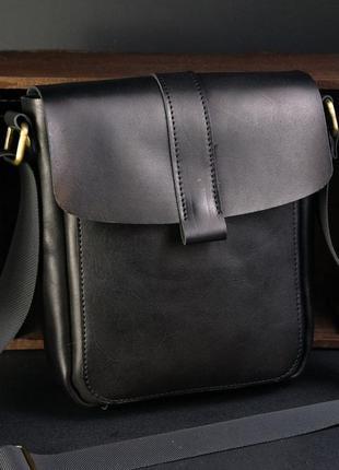 Мужская сумка из натуральной кожи итальянский краст черная