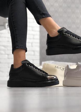 Alexander mcqueen black женские кроссовки кеды