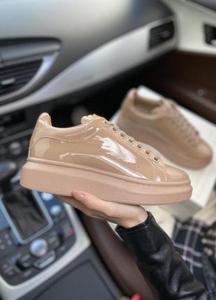Alexander mcqueen beige женские кроссовки кеды