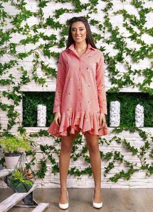 #распродажа!#крутое новое платье-рубашка оверсайз с вышивкой #...