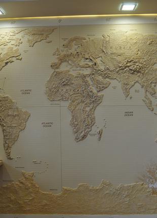 """Лепка, барельеф на стене """"Карта мира"""""""