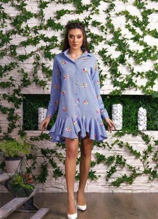 #распродажа!#exclusive# платье рубашка с вышивкой оверсайз s\m...