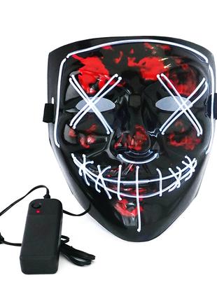Светящаяся неоновая LED маска Судная Ночь. Neon Mask белая.