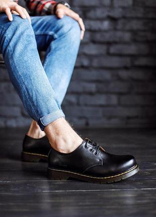 Шикарные мужские черные кожаные туфли dr. martens 1461 low black