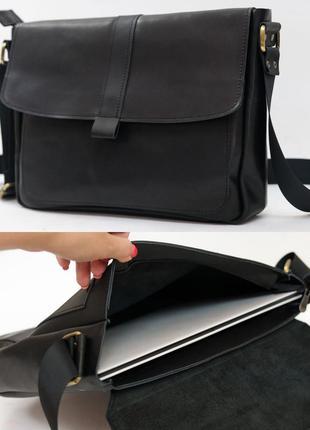 Мужская горизонтальная сумка из натуральной кожи итальянский к...