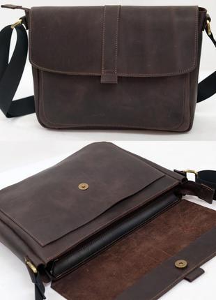 Мужская горизонтальная сумка из натуральной винтажной кожи кор...