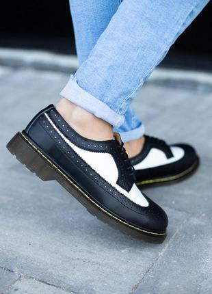 Шикарные мужские черные кожаные туфли-броги dr. martens 1461 low