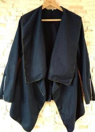 Шикарный,тёплый,асимметричный,синий пальто-кардиган-трансформе...
