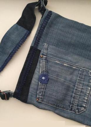 Сумка джинсовая  джинс с кружевом