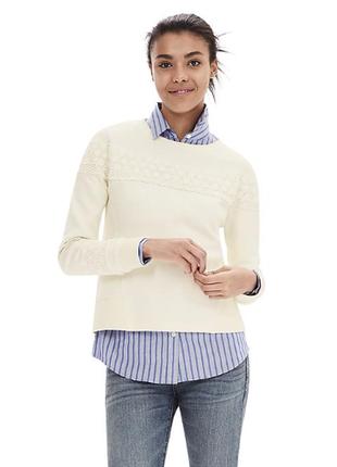 """Пуловер с кружевной отделкой  белый новый """"Banana Republic"""""""