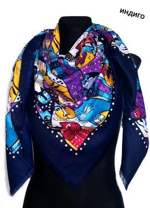 "Яркий красивый платок "" гатто"", 135×135 см, индиго."