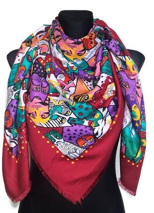 """Красивый яркий платок """" гатто"""", бордо, 135×135 см."""