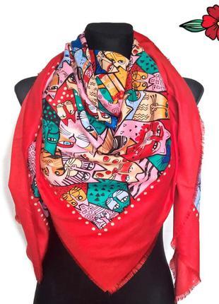 """Скидка!!!яркий платок """" гатто"""", красный."""