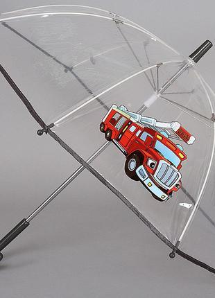 Детский прозрачный зонт трость artrain1511-1913 пожарная машинка