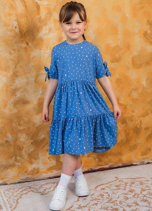 Платье на девочку в горох с завязками на рукавах