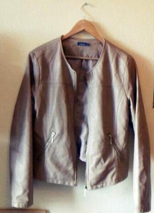 Стильная куртка искусственная кожа цвет кэмел бежевый in exten...