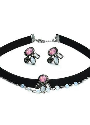 Комплект украшений ожерелье-чокер и серьги