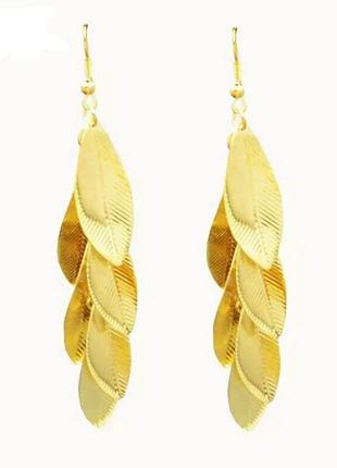 Серьги золотые листики