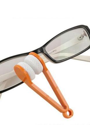 Щётка для чистки очков очиститель  из микрофибры оранжевая