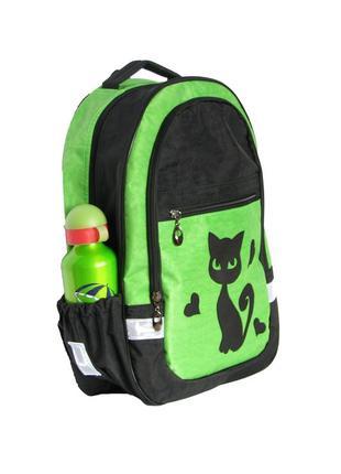 """Рюкзак для школы, для девочки """"кошка"""", день-ночь, ткань кринкл..."""