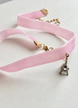 Розовый бархатный чокер с эйфелевой башней